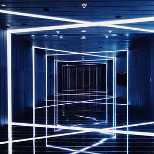 Immersive hallway with light for night event